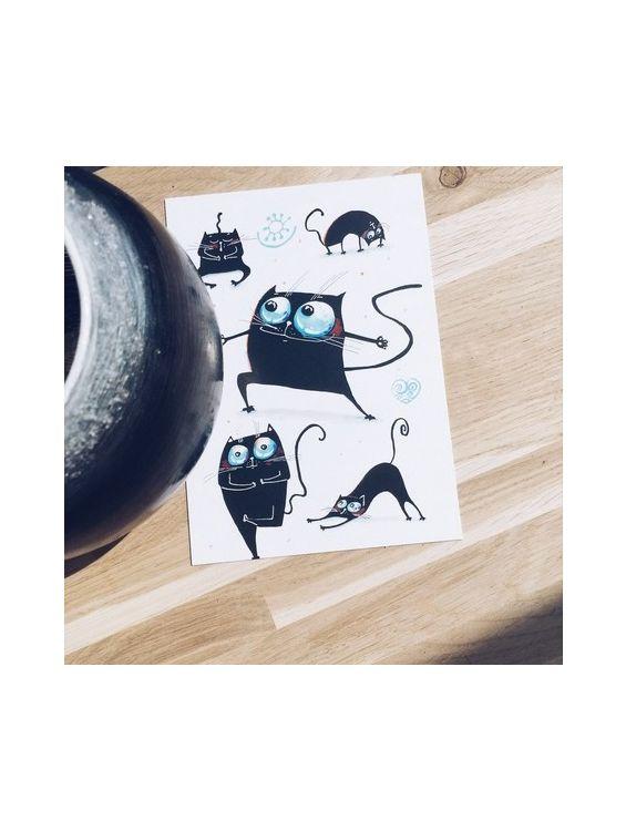 Открытка - Черный кот №1655