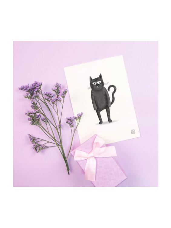 Открытка - Черный кот. Я пришел. №1699