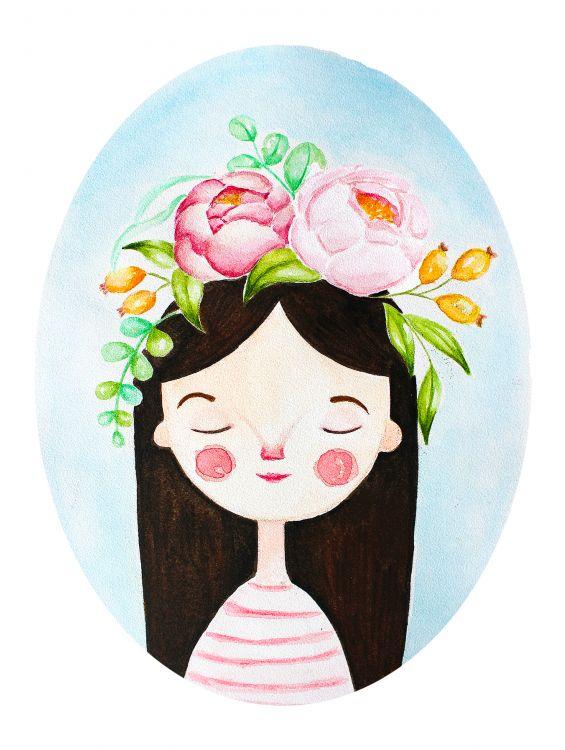 Открытка - Венок  с цветами №1305