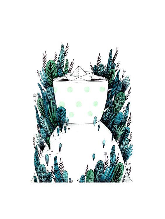 Открытка - лесная чашка №1411