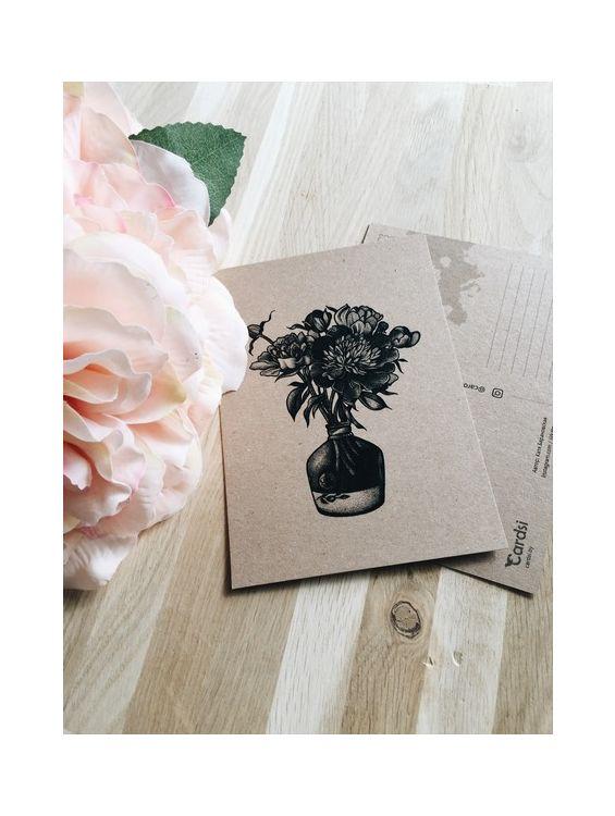 Открытка - Цветы в вазе №1650