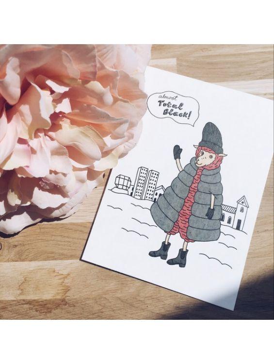 Открытка - Овечка в пальто №1666