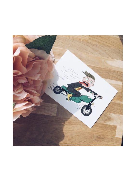 Открытка - Мотоциклист №1667