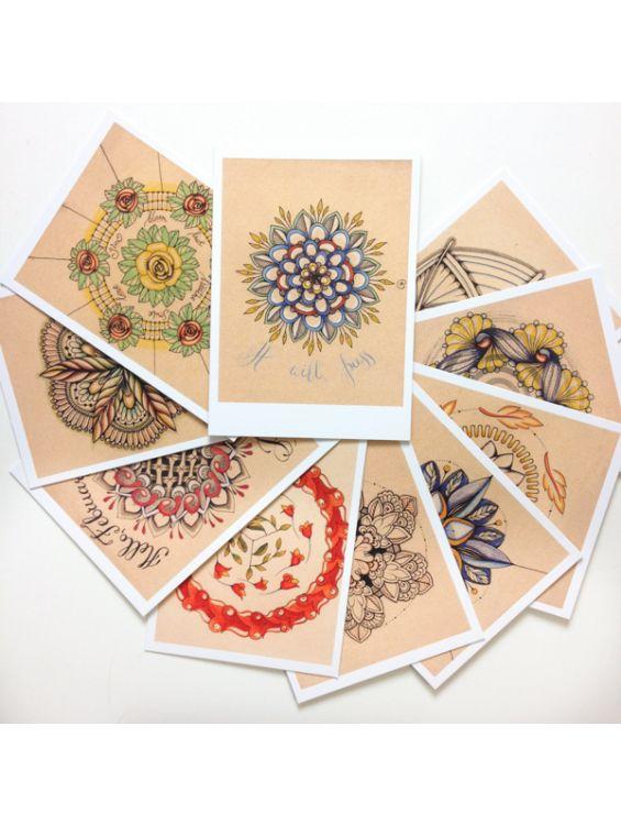 Набор открыток мандал - Floral Dances
