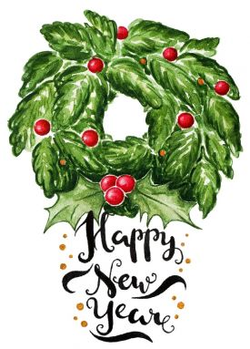 Открытка - Happy Ney Year Christmas wreath №1232