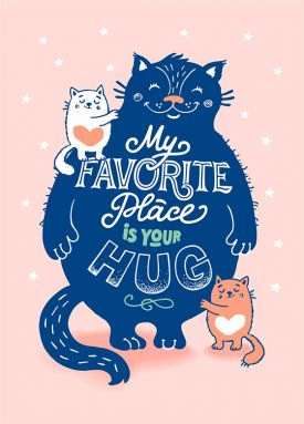 Открытка - My favorite place is your hug №2310