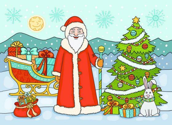Открытка - Кролик и Дед Мороз №32
