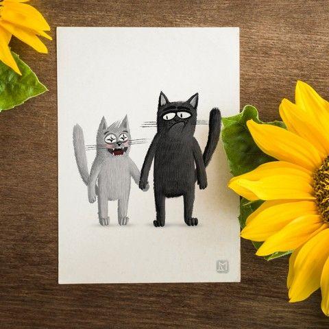 Открытка - Коты. Пошли со мной. №1694