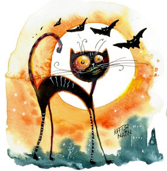 Открытка - Черный кот №1722