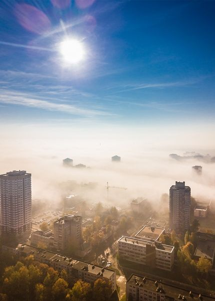 Открытка - Город в тумане №1731