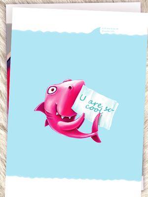 Открытка - Веселая акула №1435